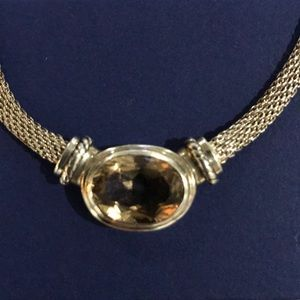 STERLING SILVER MESH SNAKE CHAIN CITRINE NECKLACE